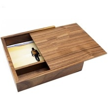 180*180*50mm Fashion Maple/Walnut Wood Photo Unique  Album Box Creative Collection Box DIY  Wedding Memory Dropship