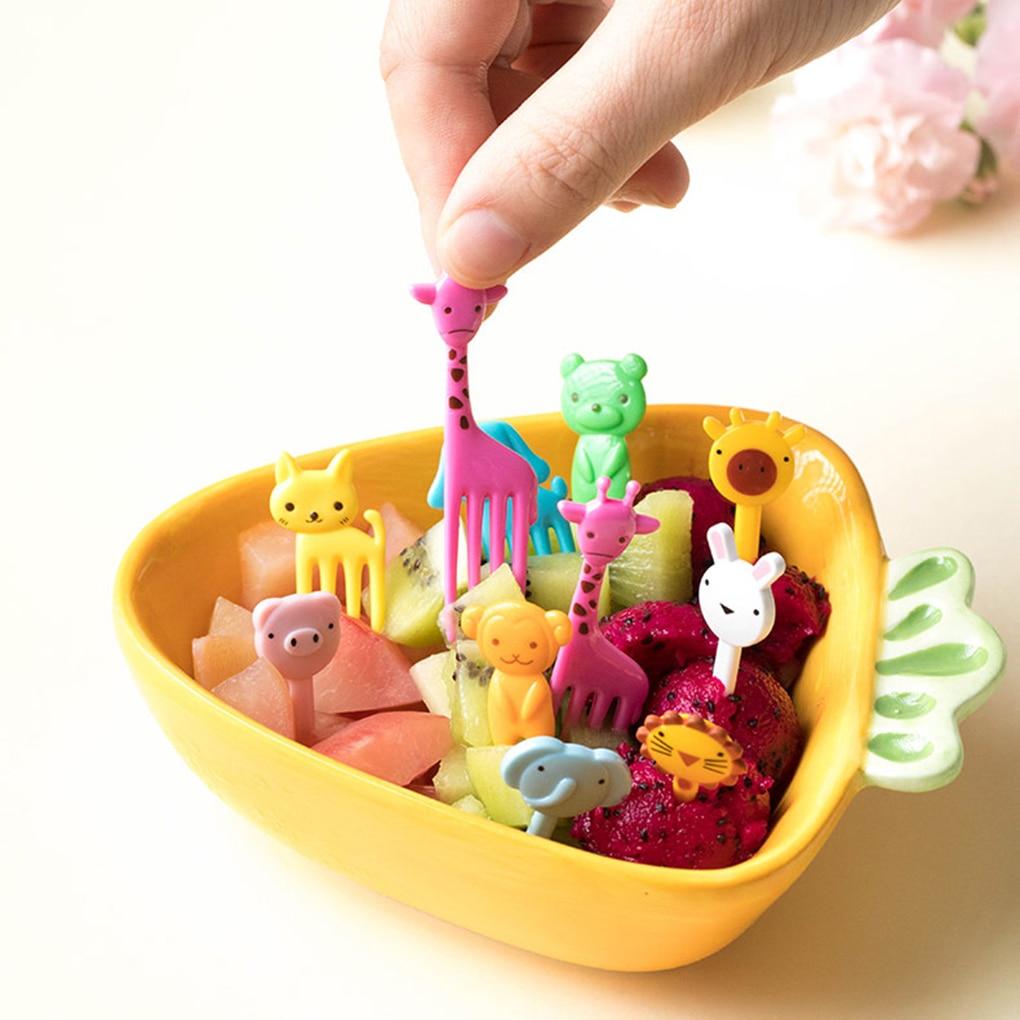 Mini Tenedor de fruta de granja de animales para niños, dibujos animados, postre de pastel de merienda, comida, palillo de dientes, almuerzo, decoración de fiesta, Color aleatorio