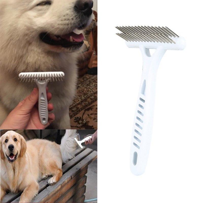 Peluquería de mascotas peine perro corta pelo largo y grueso muda de pelo eliminar gato novio rastrillo peine cepillo perro suministros