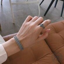 LouLeur gerçek S925 ayar gümüş dokuma bilezik bilezik Vintage basit bilezik kadın moda 925 gümüş welry hediyeler toptan
