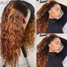 ALICE Farbige 360 Lockige Spitze Front Menschliches Haar Perücken Mit Baby Haar 250 Dichte Medium Verhältnis Nicht-Remy Perücke
