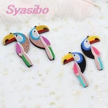 (2 pares) 70mm acrílico toucan pássaro para brincos mãe menina do vintage brincos presente de alta qualidade acrílico glitter laser Cutout-AC1602