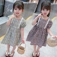 1 6 years childrens dress summer new style girl dress childrens short sleeved floral dresses baby girl dress kids clothing