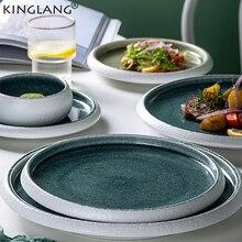KINGLANG diseño Original hielo Split Glaze cerámica Flate Plate japonés Sushi Display Plate artículos de mesa de gran calidad al por mayor