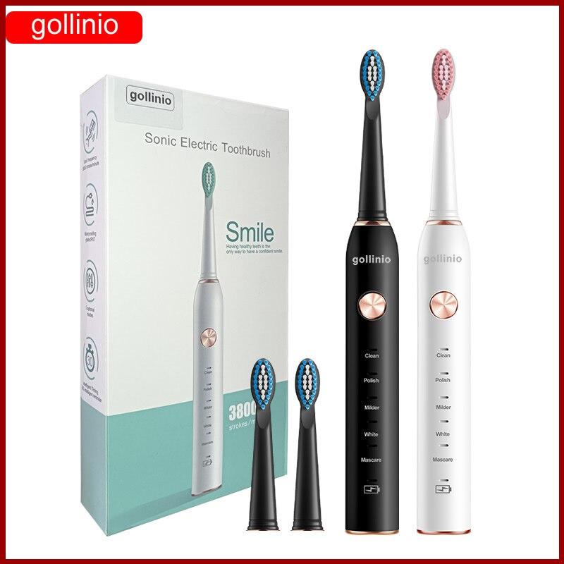 Gollinio فرشاة أسنان كهربائية بالموجات الصوتية الذكية الأسنان Usb شحن سريع فرشاة أسنان قابلة للشحن فرشاة أسنان استبدال رئيس GL41A