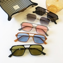 2021 Fashion Trendy Retro Brand Rectangle Sunglasses Women Orange Blue Shades Women 90s Vintage Squa