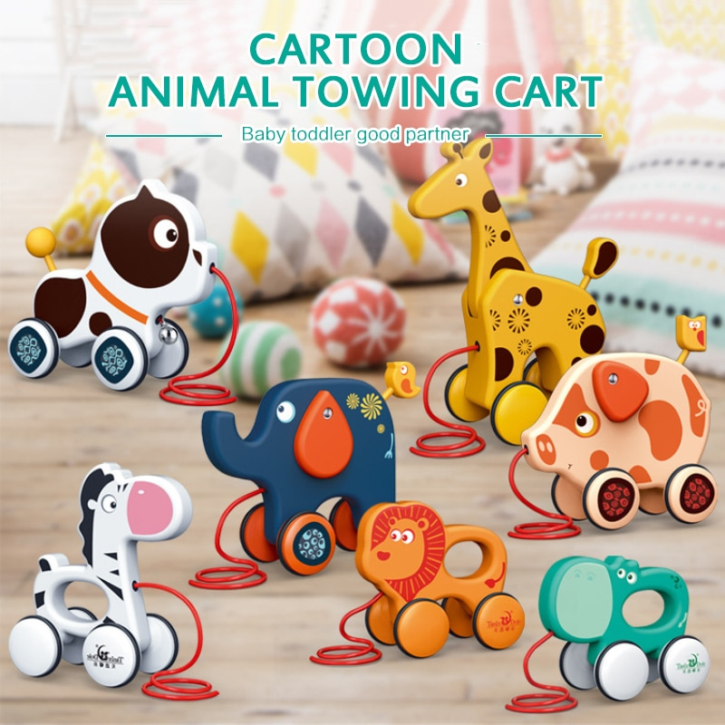 Baby Toddler Toy Cartoon Animal Trailer Toddler Toys Baby Traction Hand-drawn String Pull Rope Toys Push Children Drag Toys