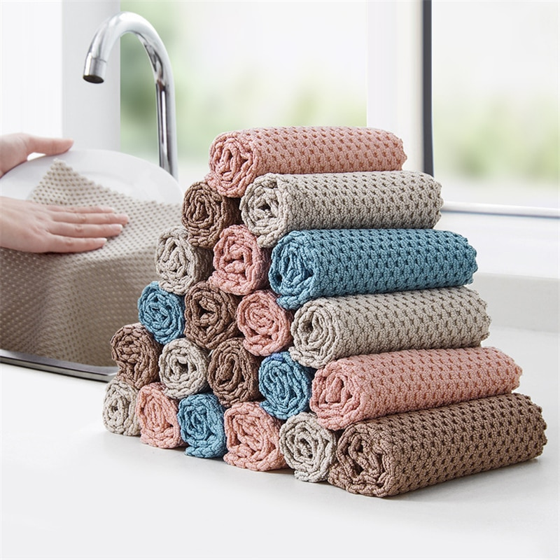 3pcs Cleaning Cloth Kitchen Anti-grease Wipping Rags Super Absorbent Microfiber Washing Dish Cleaning Towel Cloth Dishcloth недорого