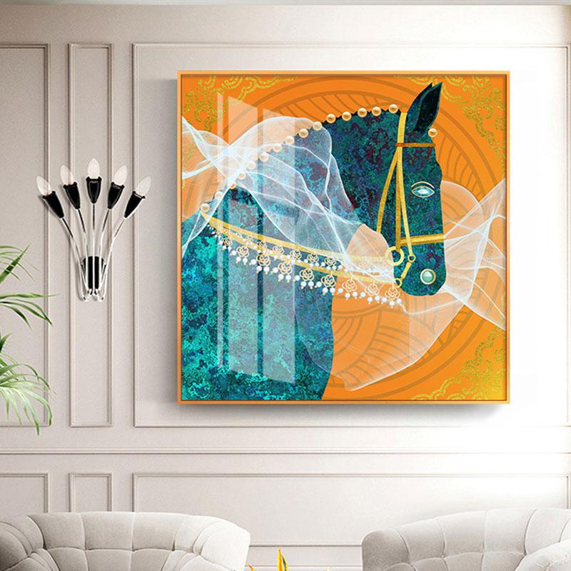 Fantanstic Lona de arte de pared azul caballo con los ojos azul y blanco gasa pintura HD cartel de pared para sala de Casa Deco