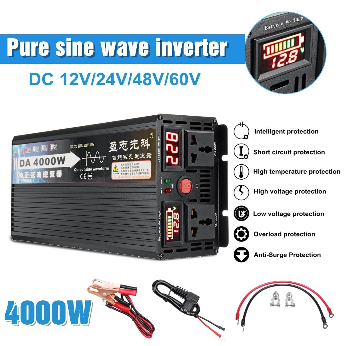 4000W transformador de Tensão de onda senoidal pura energia solar inversor DC 12V 24V 48V 60V para AC 220V LCD/Display LED