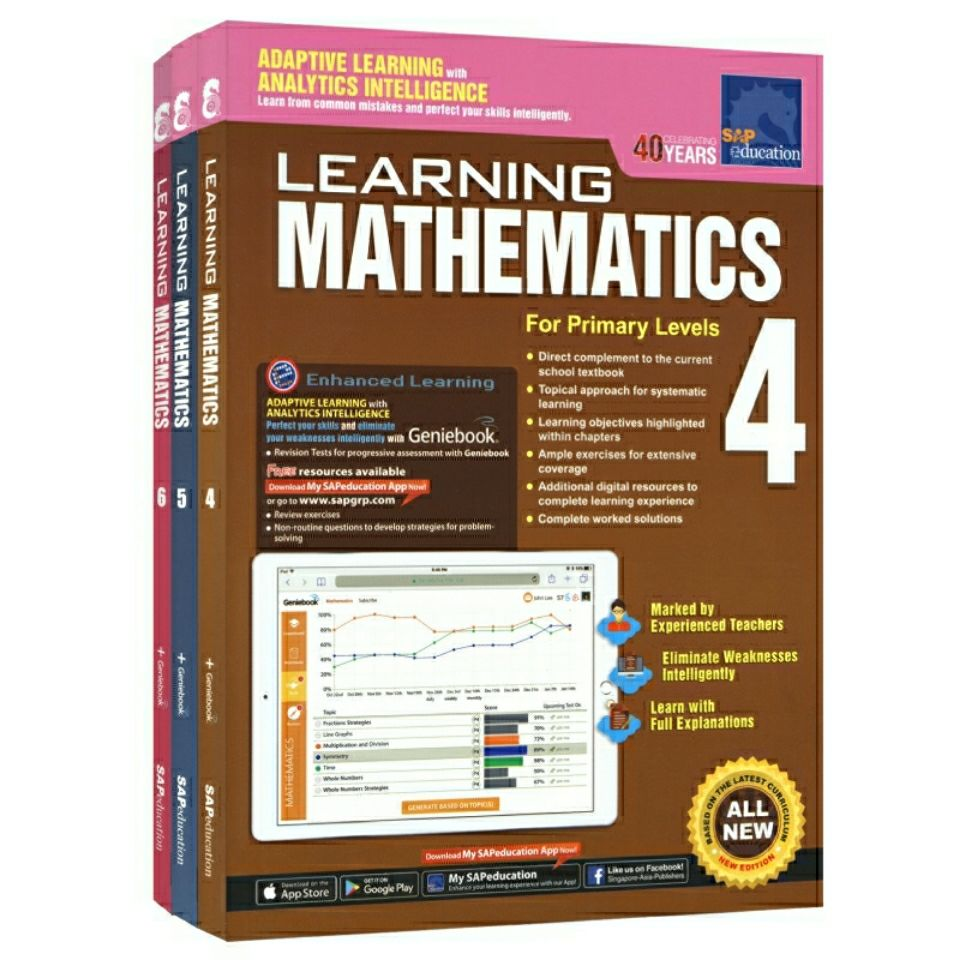 3-Book Set SAP Learning Mathematics Grade 4-6 Singapore Math Workbook Series