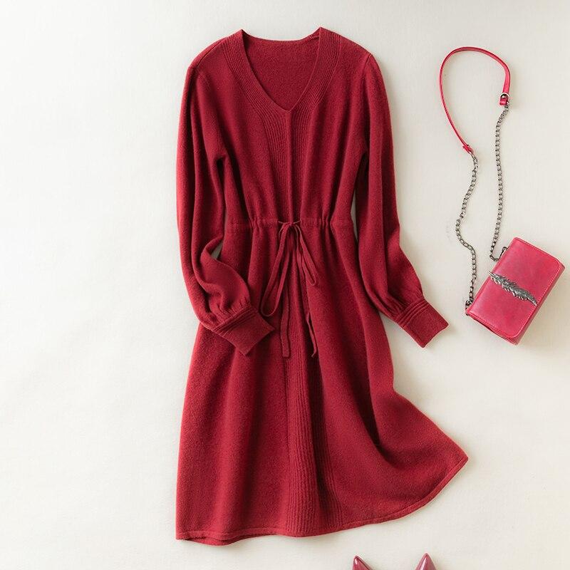 MeetMetro 100% Merino Wool Women Sweater Dress Pullover Women Winter Warm Knitted Long Sweater Solid Fashion Women Sweater Dress enlarge