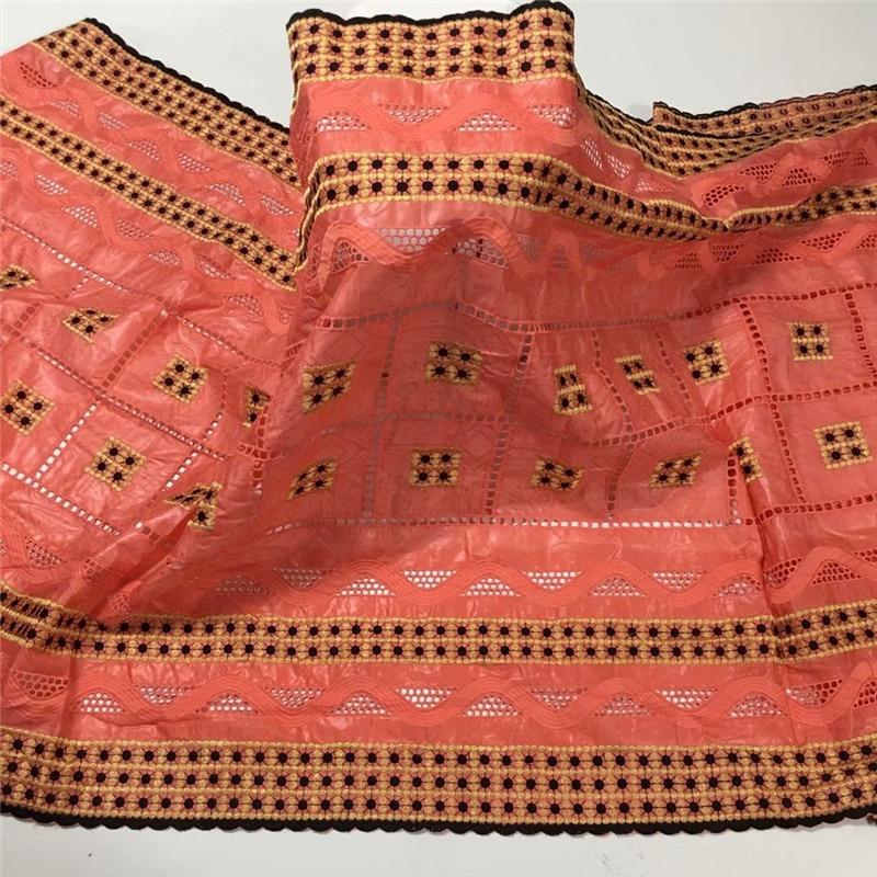 Tela africana bazin riche con brode, última moda, bordado de encaje bazin, tela con encaje de red de 5 yardas HZ072202