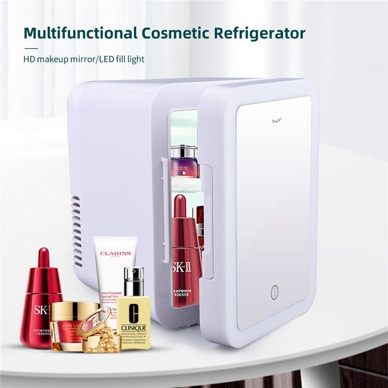 CkeyiN Cosmetic Fridge 4L/6L Mini Beauty Fridge Makeup Products Cooler Refrigerator with Brightness Adjustable LED Makeup Mirror