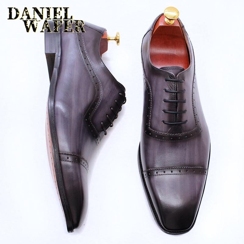 أكسفورد-حذاء جلد أصلي للرجال ، حذاء برباط من الأمام ، أنيق ، بني ، أسود ، كلاسيكي ، لحفلات الزفاف والمكتب