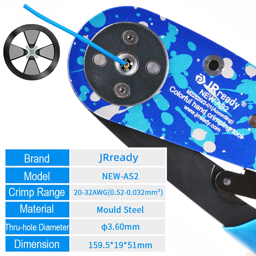 JRready ST2137 Crimping Hand Tool NEW-AS2 4-indent Steel Crimper With Universal Adjustable Positioner Support Wire Range 20-32AW enlarge