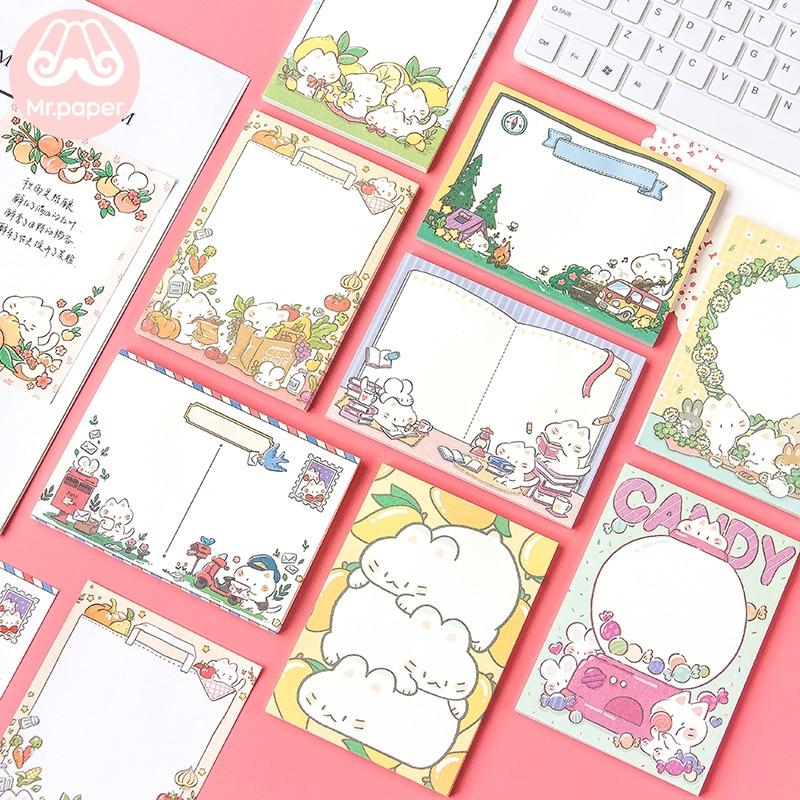 Kawaii Paper 50 unids/lote lindo dulce de dibujos animados Lemon Kitty hoja suelta notas adhesivas notas escribir puntos pegatinas Kawaii Memo