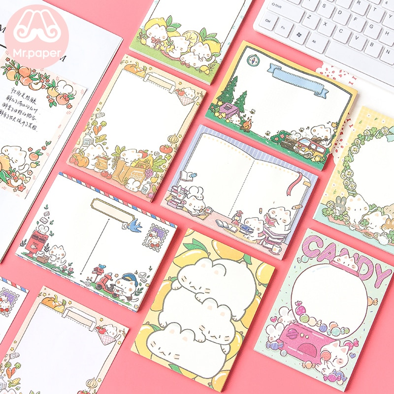 Kawaii Papier 50 teile/los Nette Cartoon Candy Zitrone Kitty Lose Blatt Sticky Note Memo Pads Schreiben Punkte Unten Kawaii Memo aufkleber