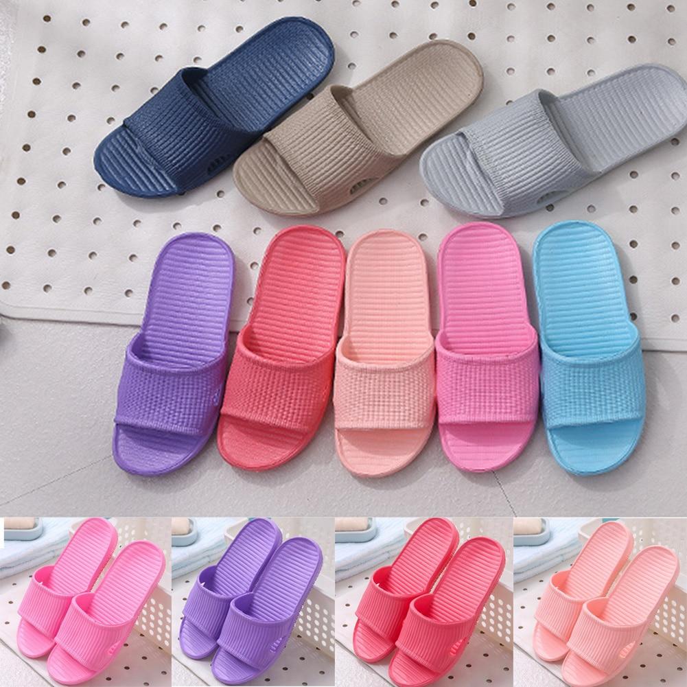 Zapatillas de verano para mujer, zapatillas antideslizantes para el suelo, para el hogar, para interiores, familia, a rayas, planas, para baño, sandalias de playa, chanclas
