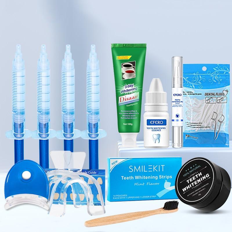 11PCS/SET Teeth Whitening Kit Dental Floss PicksToothpicks+Strips+Whitening Toothpaste+Pen+Powder+Essence Gel