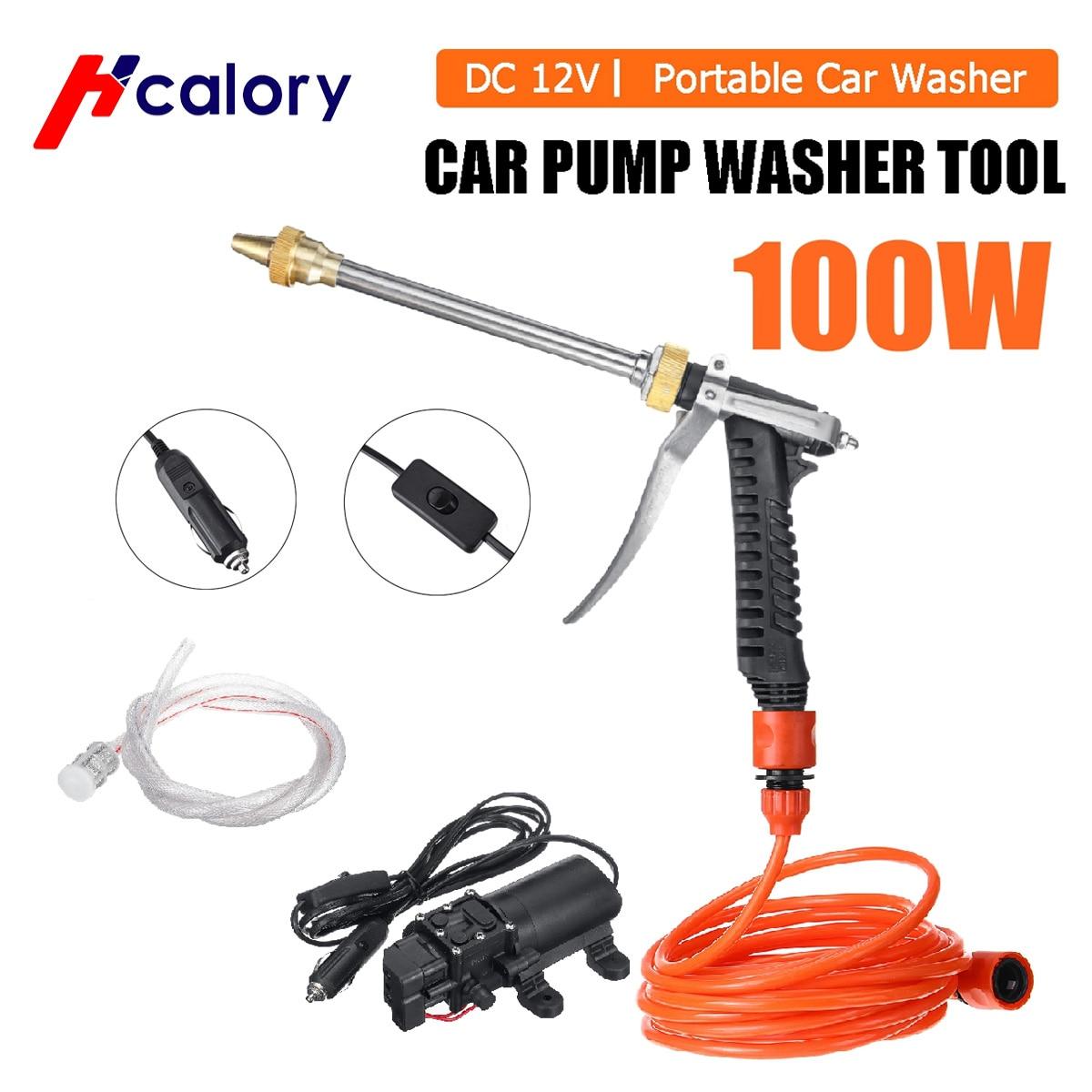 100 واط 12 فولت جهاز تنظيف يعمل بالضغط العالي سيارة كهربائية محمولة منظف رشاش سقي غسل عدة تنظيف مضخة ذكية