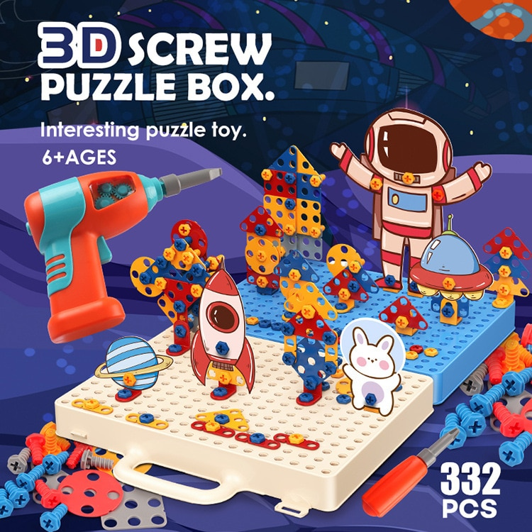 Сверлильный винт 3D креативный мозаичный пазл игрушки для детей Строительные кирпичи игрушки для детей DIY электрическая дрель набор обучающ... 18 104 набор для изготовления интерьерной игрушки ксюша 26см