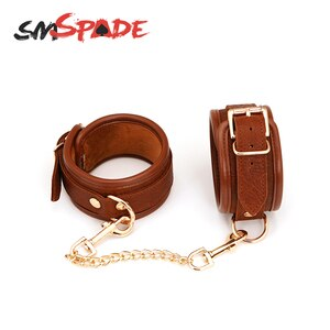 SMSPADE Leather Ankle Cuffs BDSM Bondage Fetish Slave Sex Toys For Couples Cuffs Restraints Kit Erotic Adult Games Sex Shop