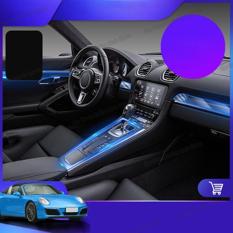 Lsrtw2017, película protectora Interior transparente de TPU para coche, pegatina de panel de engranaje para Porsche boxster 718 cayman 2016 2017 2018