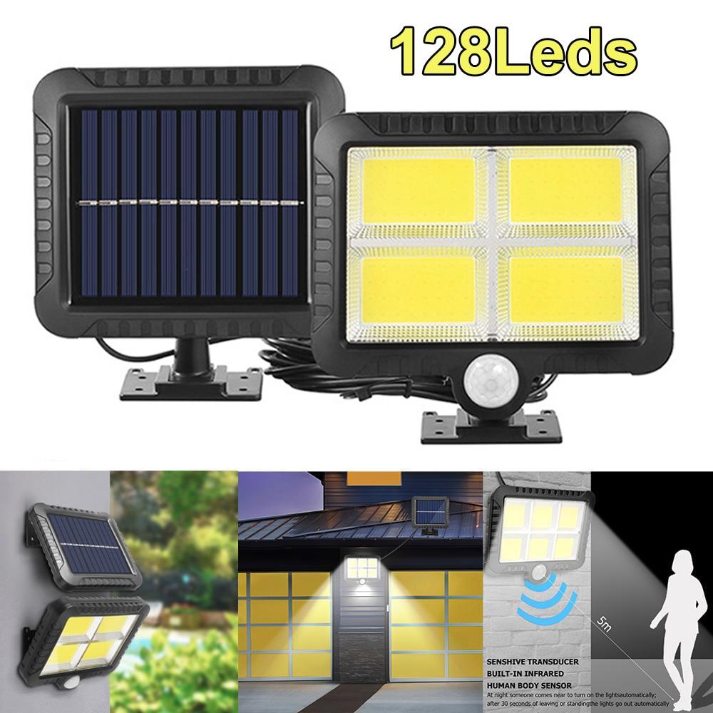 COB 128 LED Solar Light Outdoor Solar Lamp PIR Motion Sensor Wall Light Waterproof Solar Powered Sunlight for Garden Decoration