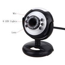 800x600 1.3MP USB + 3,5 мм веб-камера 6 СВЕТОДИОДНЫЙ Ночник светильник Buit-in Mic Clip Cam Веб-камера для ПК настольного ноутбука компьютера