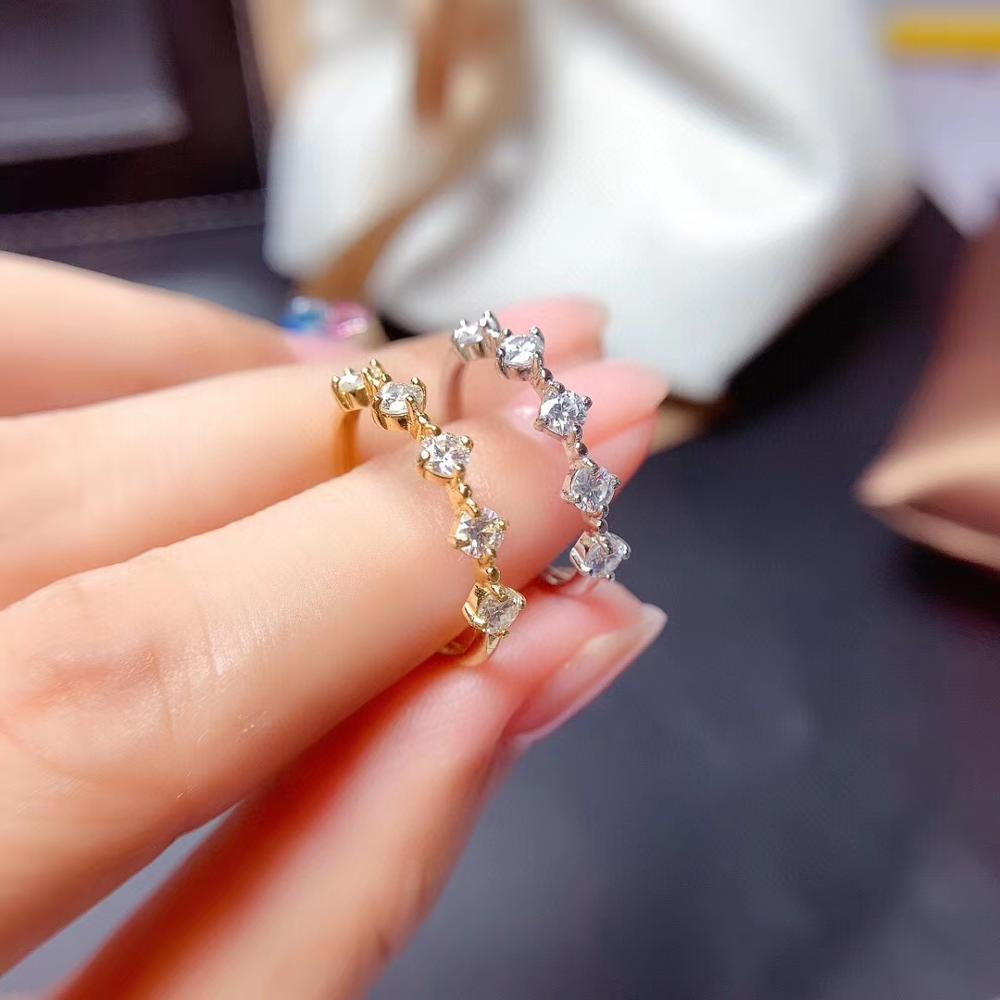 MeiBaPJ 3 مللي متر الأبيض مويسانيتي الماس الاتجاه خاتم بسيط للنساء 925 فضة غرامة مجوهرات الزفاف