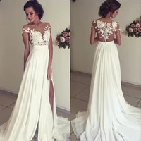 beach vestido de noiva wedding dresses a line cap sleeves chiffon lace slit dubai arabic boho wedding gown bridal dresses