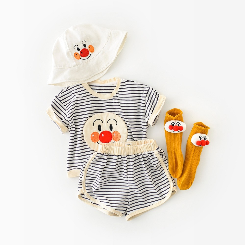 Yg brand children's clothing 2021 summer new baby pants set cute cartoon Striped Top Shorts two piec