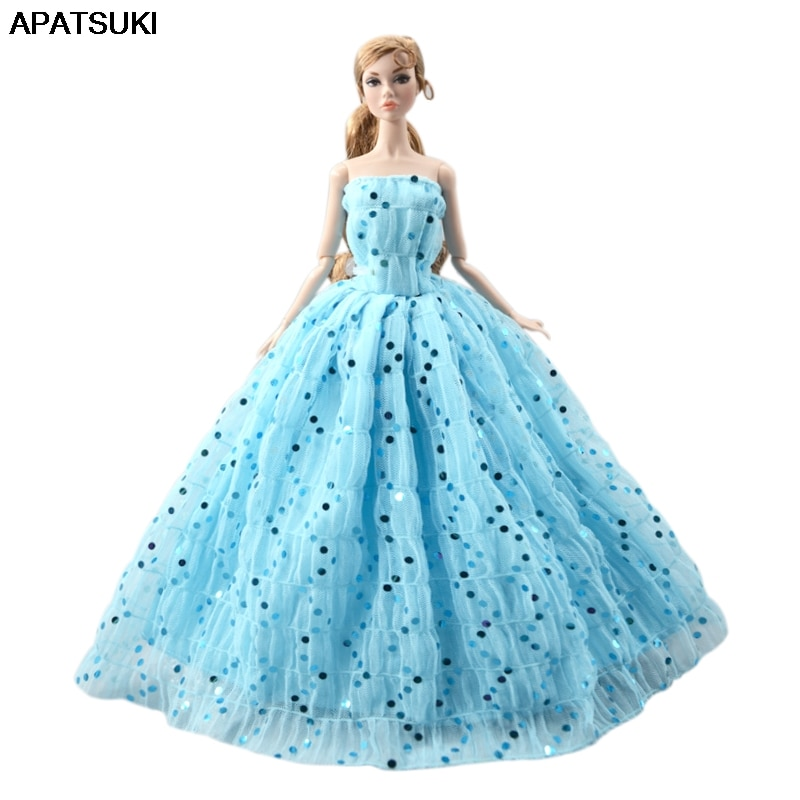 Blue Sequin Wedding Dress For Barbie Doll Outfits Clothes Princess Party Gown For 1/6 BJD Dolls Accessories Toys