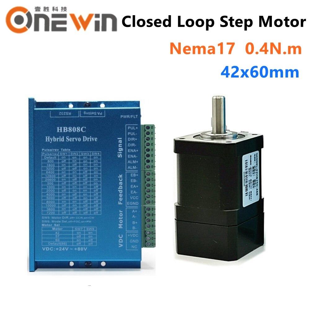 2 fases 0.4N.m Nema17 42mm motor paso a paso de bucle cerrado 42HB250-40B con HB808C kit de controladores paso Hybird