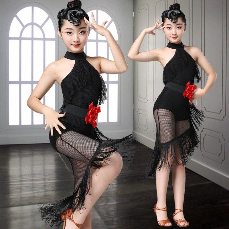 Детская Юбка для латиноамериканских танцев, одежда для упражнений, одежда для выступлений, одежда для выступлений для девочек, одежда для с...