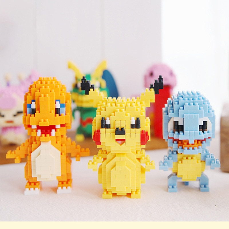 Pokemon Anime Pikachu Building Block Toy Figurine Charmander Bulbasaur Squirtle Small Plastic Building Model Gift
