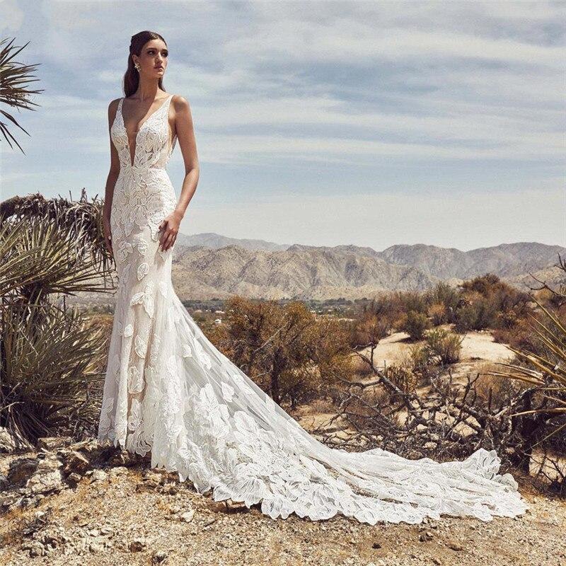 FATAPAESE Romantic Lace Mermaid Boho Wedding Dress Sexy Dresses With V-neck Backless Vestidos De Novia