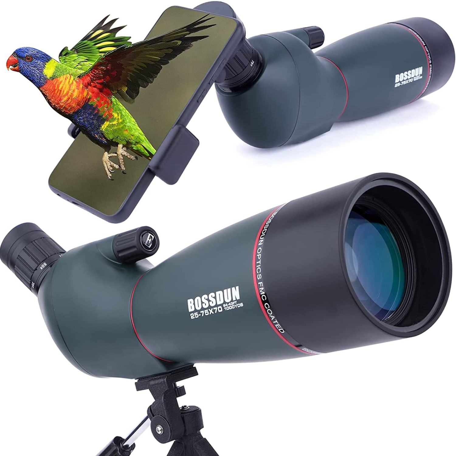 25-75x70mm Spotting Scopes with Tripod  Zoom BAK4 Prism 45 Degree Telescope for Target Shooting Bird Watching Hunting