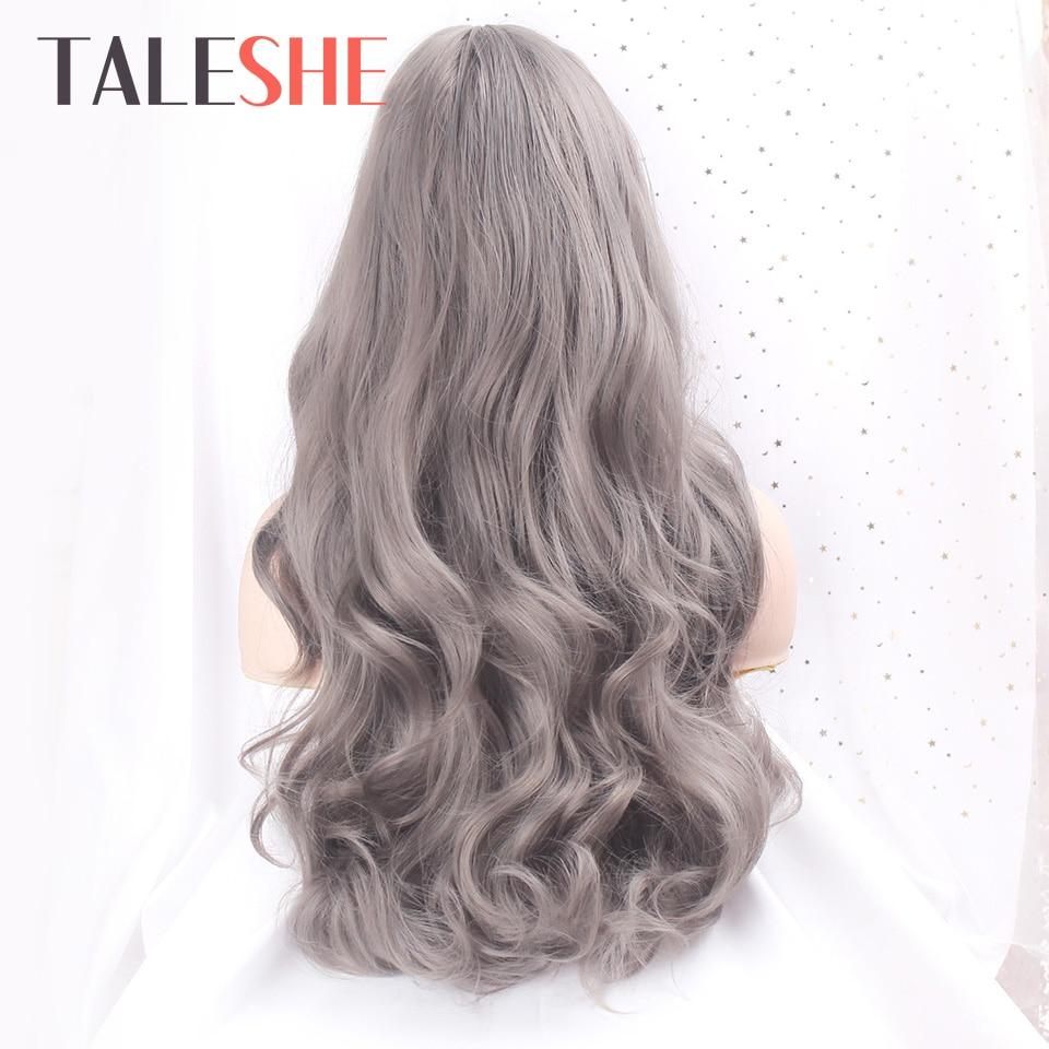 Taleshe sintético cinza escuro longo ondulado perucas para preto peruca cosplay feminino com franja africano americano loira marrom preto roxo