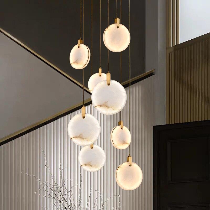 الرخام قلادة ضوء المطبخ جزيرة غرفة الطعام led بريق الشمال تصميم حجر مستدير تركيبات تعليق مصباح