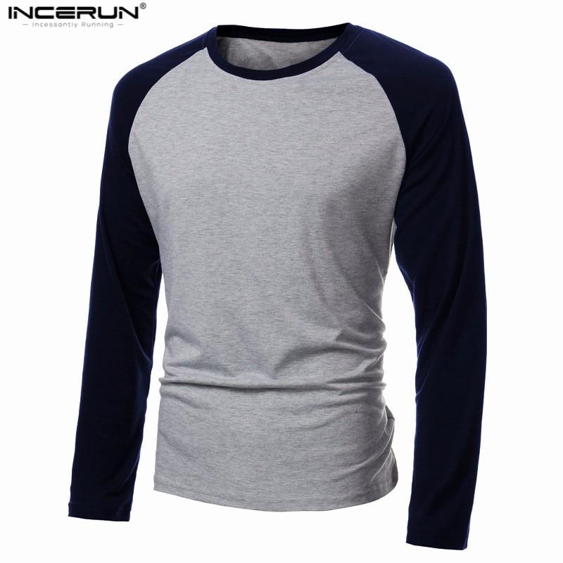 Camiseta de manga larga de primavera para hombre, camiseta informal de béisbol con cuello redondo y retazos, camisetas de moda para hombre, camisetas de talla grande 4XL 2020