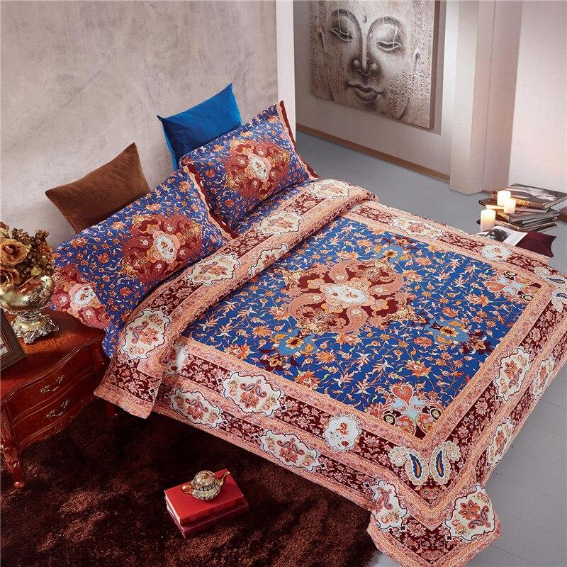Индийский Бохо пион Комплект постельного белья пододеяльник простыня наволочки королева размер 4 шт комплект постельного белья