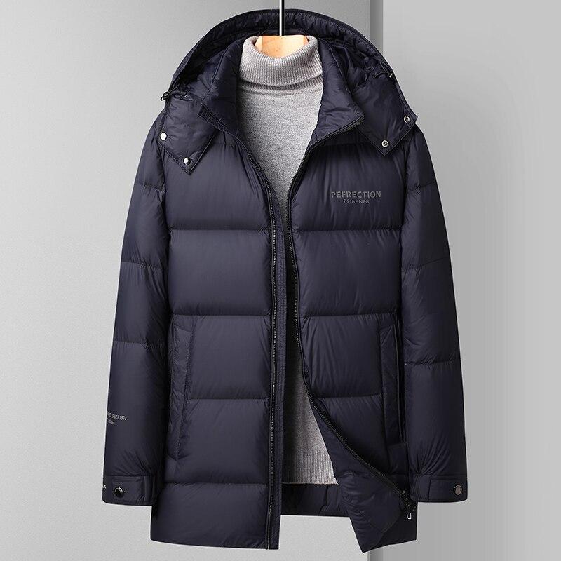 Зимняя Теплая мужская легкая толстая пуховая куртка, повседневные парки, Толстая теплая куртка на белом утином пуху, модное удобное мешкова...