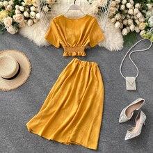 SINGRAIN Women Summer Korean Suits Solid V Neck Blouse+ Buttons A-Line Skirt Casual Elastic OL Elegant Solid Two Piece Sets