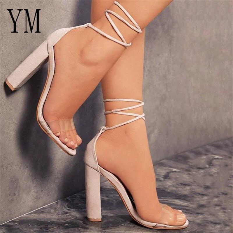 Mulheres verão sapatos de salto alto cinta tornozelo sandálias transparentes bomba sexy feminino capa salto festa casamento senhoras zapatos de mujer