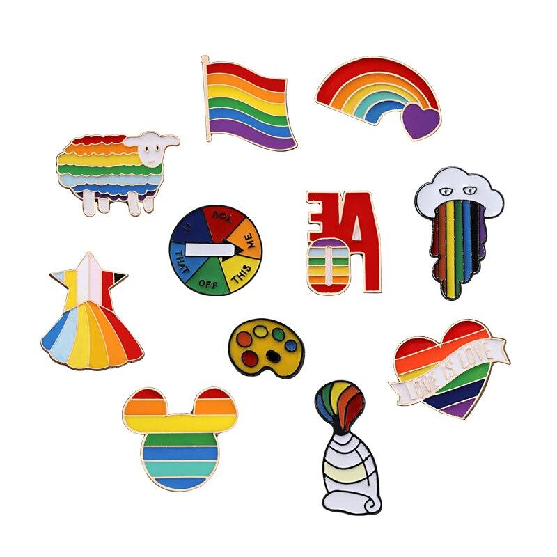 Унисекс Броши Радужный Флаг овец сердце пигментный Инструмент эмаль на булавке на Для женщин мужские джинсовые куртки штырь отворотом гей ...