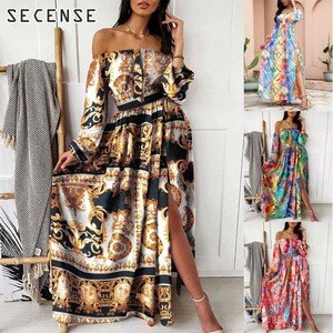 Dresses For Women 2021 Bohemian Printed Ruffles Long Sleeve V-Neck Maxi Dress Pullover Dress Vintage Casual Floral Print Party