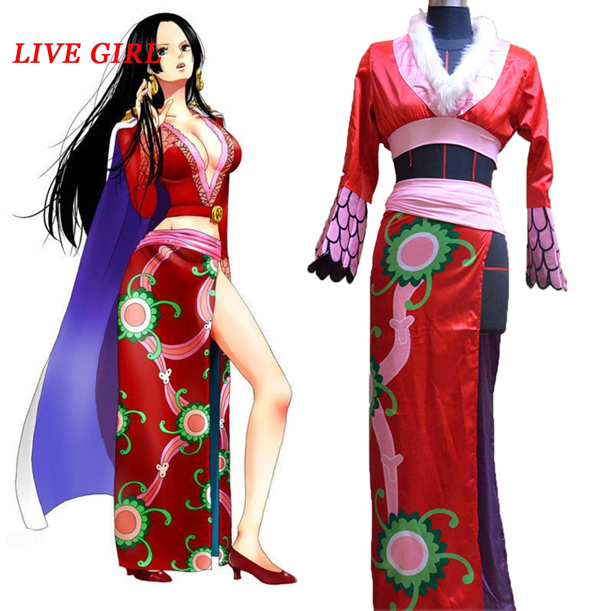 Anime! Une pièce Boa Hancock rouge Cheongsam robe Cosplay Costume pour femmes haut + jupe + cape + accessoires livraison gratuite