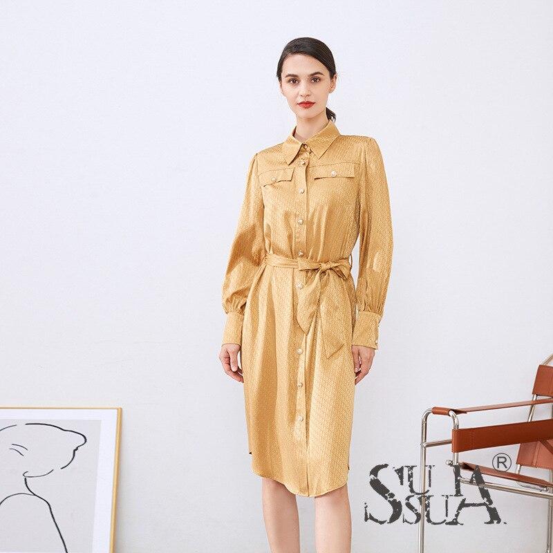 100% mulberry silk dress Shenzhen Nanyou women's mulberry satin jacquard lace-up shirt dress mulberry silk skirt
